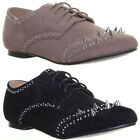 Womens Flat Sole Round Toe Lace Up Oxford Studded Shoes Fashion Evening Work Sho