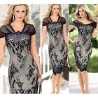 Women's Short Sleeve Dress  Lace Bodycon Cocktail Party Silm Pencil Dresses S