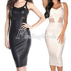 Sexy Sleeveless Knee-Length PU Faux Leather Mesh Accent Club Cocktail Midi Dress