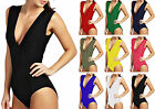 Womens Plain Jersey V Neck Stretch Bodysuit Ladies Deep Scoop Basic Leotard Top