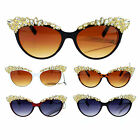 Womens Large Rhinestone Jewel Brow Lash Cat Eye Sunglasses