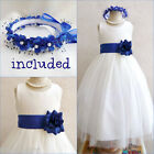 Gorgeous Ivory/royal blue tulle flower girl party dress FREE HEADPIECE all sizes