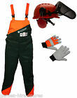 "36"" Waist Chainsaw Forestry Safety Protection Bib Trousers & Gloves & Helmet Kit"