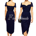 Sweetheart Neckline Short Sleeve Cascading Jersey Formal Evening Party Dress FB