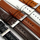 Padded Buffalo Grain Leather Watch Band Strap 22mm 20mm 18mm Contrast Stitching