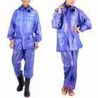 Men Women Rain Suit Jacket Trousers Set Coat Pants Cycling Waterproof PVC Blue