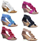 11033 Womens Low Wedge Sandals Back Zip Flower Ladies Open Toe Fashion Shoes