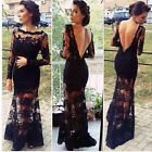 Fashion Women Sexy Lace Backless  Long Sleeve Evening Gown Formal Full Dresses S