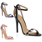 WOMENS BUCKLE STRAPPY LADIES CUT OUT GINGHAM STILETTO HIGH HEEL SHOES SIZE 3-8