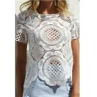 Sexy Women Floral Lace Crochet Hollow Tops Casual Short Sleeve Shirts Blouse S