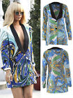 Women Ladies RIHANNA Celeb Style Printed Button Party Long Blazer Jacket Coat