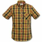 Mikkel Rude Mod Skin Retro 60's Button Down S/S Check Shirt Black / Yellow