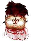 Beaded Veil Masquerade Mardi Gras Prom New Years Ball Mask White Gold Black Red