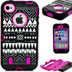 Tribe Pattern Hybrid Rubber Protective Case Cover Skin for Apple iPhone 4 4G 4S