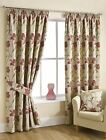 Cream Ready Made Pencil Pleat Curtain Pair Floral Tapestry Design