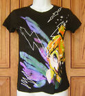 Tinkerbell Disney Splatter White Stars Lightning Distressed Black T Shirt Top A