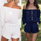 Sexy Womens Off Shoulder Clubwear Playsuit Party Jumpsuit Romper Short Trousers