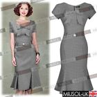 Womens CHECKS Vintage Pin Up Fixed Bow Prom Pleated Mermaid Party Dresses 810246