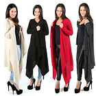 LADIES SOFT FEEL LONG WATERFALL CARDIGAN WOMENS SHAWL WRAP JUMPER OPEN CARDI TOP