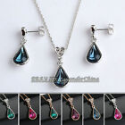 A1-S056 Heart Simulated Gemstone Earrings Necklace Jewelry Set 18KGP Crystal