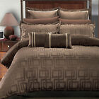 Janet Charcoal, Brown & Beige Contemporary Jacquard Design 8PC Comforter Set