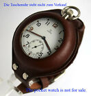 LEATHER WRIST BAND & CASE for POCKET WATCH compatibl OMEGA LONGINES WALTHAM etc.