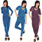 Women Ladies Tie Waist Band All In One Summer Jumpsuit Playsuit Trouser Pants