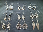 Wiccan Pagan Tibetan Siver Charm Earrings Silver Plated Hooks Free P&P New.