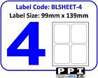 Plain White Blank Address Labels, 4 Per Page / A4 Sheet, 4 Up 4TV : BLSHEET-4