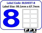 Plain White Blank Address Labels, 8 Per Page / A4 Sheet, 8 Up 8TV : BLSHEET-8