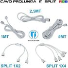 Prolunga led RGB cavo estensione 1m 2m 5m connettore 3528 5050 filo 4 pin SPLIT