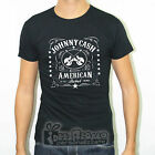 T-SHIRT CAMISETA NERA SLIM FIT MAGLIETTA JOHNNY CASH USA FOLK MUSIC GUITAR VQOF