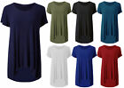 Womens Dip Hem Casual Baggy T Shirt Top Ladies Short Sleeve Tunic Dress Size8-22