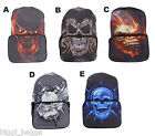 SKULL FACE RUCKSACK Backpack College Emo Goth Punk Rock School Bag CHOICE OF 5