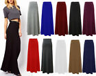 Womens Plain Long Flare Maxi Ladies Jersey Gypsy Boho Skirt Plus Sizes 8-14