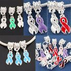 Red Purple Blue Enamel Breast Cancer Awareness Ribbon AIDS HIV Large Hold Beads