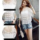 Sexy Women Round Neck Fringed Edges Openwork Crochet Lace Shirt Blouse Tops S