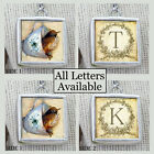 """Initials Letters Handcrafted Brown Bird Tea Cup Necklace 1"""" Silver Charm Pendant"""