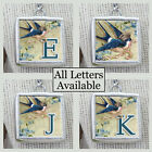 Letters Initials Crown Blue Swallow Bird Necklace Silver Pewter Charm Pendant