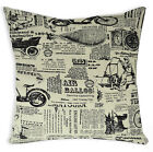 LL404a Black Beige Antique Vehicle Poster Thick Cotton Cushion Cover/Pillow Case