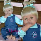 "Molly P Originals 20"" Nursery Baby Blonde Hair, Redressed Denim  Hazel Eyes"