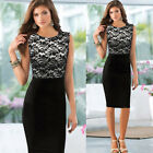 Women Floral Lace Sleeveless Bodycon Cocktail Party Evening Slim Dress Outfits