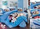 Twin Queen King Duvet Cover Comforter Set 5Pc Blue Minnie Mickey Mouse Bed Linen