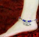 Fashion new Design nation Agate silver Bell retro National blue Ankle chain