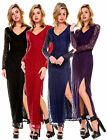 FASHION WOMENS V NECK CASUAL LACE LONG SLEEVE MAXI EVENING COCKTAIL PARTY DRESS