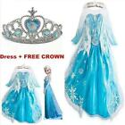 Frozen Princess Dress Girl Queen Elsa Cosplay Costume Party Dress With Crown