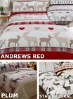 100% Brushed Cotton Flannelette Quilt Duvet Cover Bedding Bed Set Stag Winter