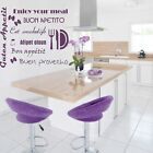"""Wall Decal Sticker Tattoo """"Enjoy Your Meal"""" Various Languages Kitchen Home Deocr"""