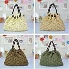 Summer Womens Handmade Crocheted Beads Handbag Beach Straw Bag Shoulder Bags W