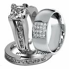 3 Pc Her Sterling Silver His Stainless Steel Wedding Engagement Rings Band Set